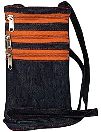 Yela Daily Use Trendy Mobile/Cell Phone Sling Denim Blue with Rust Colored Chain Having 3 Pockets