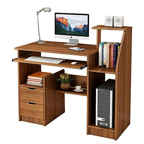 YQ WHJB Computertisch Mit Tastaturunterlage,Computer Schreibtisch Mit Schubladen Hutch Und Bücherregal Kompakt Pc-Laptop Home Office Workstation-c 100x40x90cm(39x16x35) (Mit Home-office Hutch Schreibtisch Für)
