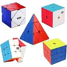 HJXDtech- Qiyi Mofangge Paquete de 5 Cubo Mágico 2x2x2 3x3x3 Conjunto De Skewb Square-1 Pyraminx velocidad suave Puzzle Cubo Pegatina Otros