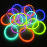 K7plus® 15 x Knicklichter – GLOW IN THE DARK - Leuchtstäbe – Leuchtarmbänder – Leuchtketten - mit Verbindungsstücke