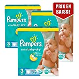 Couches Pampers - Taille 3 active baby dry - 432 couches bébé