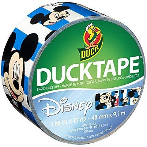 Duck Brand ShurTech 284703 Disney-oficial Mickey Mouse cinta americana con rayas azules, 4,78 cm X 10 m, para cama individual de