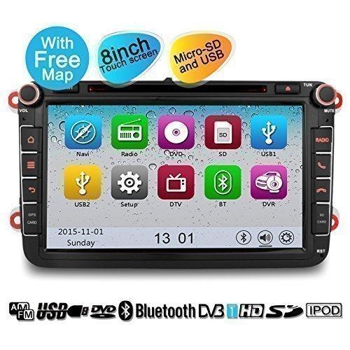 YINUO 8 Pouces écran tactile 2DIN Autoradio avec fonction GPS DVD USB Bluetooth pour VW Volkswagen Passat Golf Scriocco Touran Jetta EOS Seat Octavia Fabia