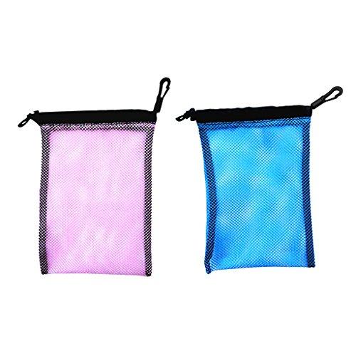 Gazechimp 2-er Pack - Mesh Bag wassersport Aufbewahrungsbeutel Sport Netztasche, Strand Sport Netzbeutel Flossen Beutel (Blau + Rosa)