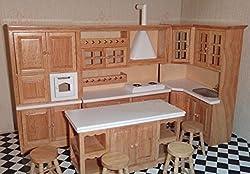 Mini Wooden Dollhouse Furniture Set, Kitchen