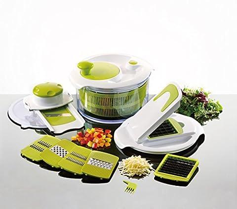 Lot de machine à salade et mandoline–Essoreuse à salade avec 7lames interchangeables en acier inoxydable–Éplucheur de doigts et eBook inclus
