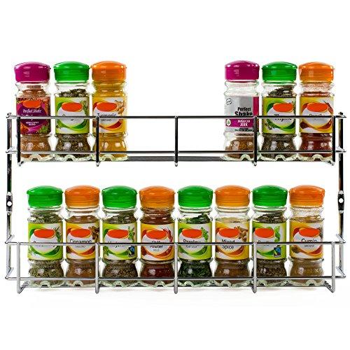 Andrew James - Gewürzregal - 2 Etagen - Zur Befestigung An Wand Oder Küchenschrank