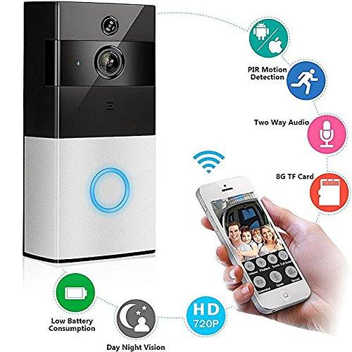 WLAN IP Video intercomsysteem, leshp Full HD 720P Video doorbel deurbel met bewegingsdetectie + video-intercom + mobiele telefoon App, Funk Video intercomsysteem Draadloos voor woonhuis