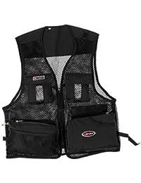 MagiDeal Chaleco de Malla de Multi-bolsillo para Pesca Secado Rápido Ropa de Fotografía Chaqueta Almacenamiento de Accesorios - Negro, L