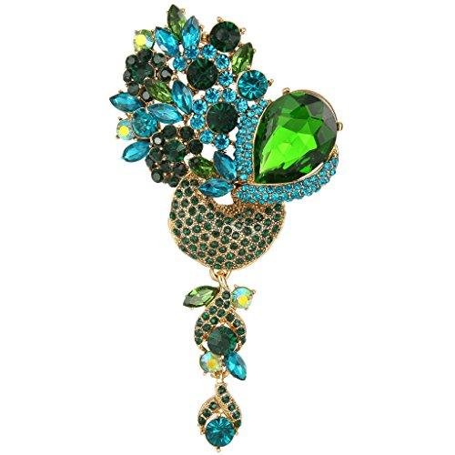 EVER FAITH® österreichischen Kristall ein Strauss Blume Form Brosche - Grün-Gold-Ton (Gold Modeschmuck Und Grün)