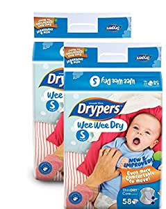 Drypers Wee Wee Dry Small Sized Diapers, Combo Pack of 2, 58 Counts Each (116 Counts)(Taped Diaper)