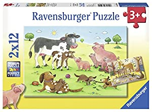 Ravensburger Puzzle 07590–Felices Animales Familias 2x 12Piezas