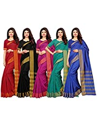 SIRIL Women's Cotton Silk Saree Attach With UnStitched Blouse Combo Pack of 5