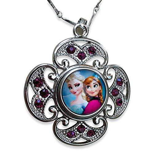 efroren.' Frozen' Snow Queen Elsa und Prinzessin Anna Portrait Glas Cabochon Halskette mit Kristalls ()