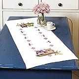 """Zauberhafte Stickpackung """" VERLIEBTES EULENPAAR """" - toller Tischläufer 40 cm x 100 cm - Kreuzstich vorgezeichnet - Stickgarn und Stickdecke aus 100 % Baumwolle - fertig gesäumt mit eingewebtem Zierrand - qualitativ hochwertig - zum Sofort-Loslegen - zum Selbersticken - aus dem KAMACA-SHOP ( Tischläufer 40 cm x 100 cm )"""