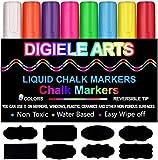 Kreidemarker, DIGIELE 8 Stück farbig sortiert mit 32 Tafelaufkleber, Reversible Stiftspitze 6mm, Trocken oder Feucht Abwischbare Kreidestift, Nicht-toxisch, sicher und einfach zu bedienen