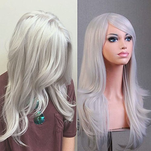 TESS Cosplay Perücke Silber Grau Lang Wig für Frauen Hochwertige Kunsthaar Peruecke voll Wigs Karneval Fasching günstig ()
