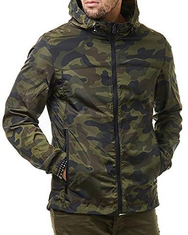 EightyFive Herren Camouflage Windbreaker Camo Übergangs Jacke Kapuze Grau Grün EF299, Größe:S, Farbe:Camouflage