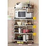 LXLA- Edelstahl-Küchen 4-stufige Mikrowellen-Ofen-Gestell-Speicher Boden-stehende Multifunktionsversorgungen Metallmehrschichtige 3-Schichten 40/53/60 * 35 * 75/100/125 Cm ( Farbe : 5-Tier , größe : 53cm )