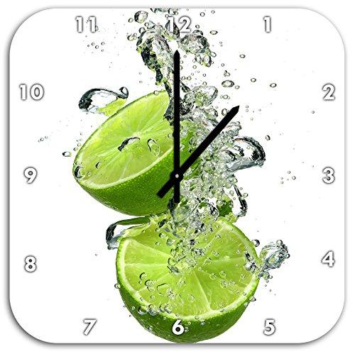 Stil.Zeit Limette fällt in das Wasser, Wanduhr Quadratisch Durchmesser 48cm mit schwarzen Spitzen Zeigern und Ziffernblatt (Diät Frische Lieferung)