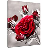 """Bilderdepot24 toile déco imprimée """"roses rouges"""" - 50 x 60 cm - Tableau sur toile, Image sur toile, vente directe par le fabricant allemand"""