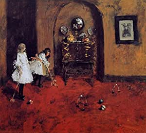 """OdsanArt 16 """"x 15"""" à dessin Impressionism autres jeux de Croquet Parlor (croquis) 'Par William Merritt Chase-haute qualité Fine Art Prints Reproduction de photographie d'Art sur toile"""