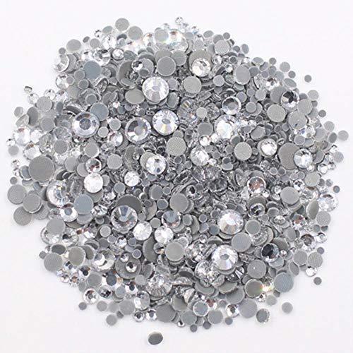 PENVEAT 2500pcs Strass Mix Größe Steine   und Kristalle Strass Strass anhaftender Kleber-Back-Eisen auf Rhinestones für Kleidung, Kristall-HQ, 1000pcs