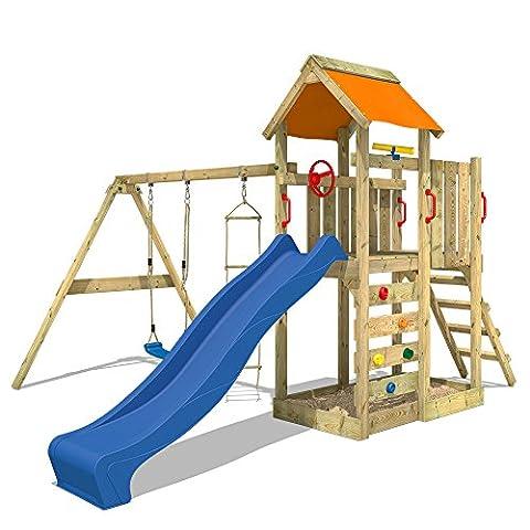 WICKEY Spielturm MultiFlyer Kletterturm Garten Spielgerät Holz mit Schaukel, Kletterwand und Sandkasten, blaue Rutsche + orange