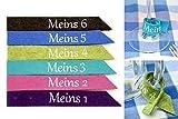 6 teilig Glasmarkierer SET 1 aus Wollfilz bestickt Glasmarker Glasanhänger