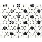 Carrelage mosaïque en céramique. Blanc et Noir Forme d'hexagone. Les feuilles entières de carreaux mesurent 26cm x 30cm (MT0090) Finition polie, surface brillante