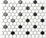 27cm x 31cm Black&White Hexagonal Gloss Ceramic Mosaic Tiles Sheet (MT0090)