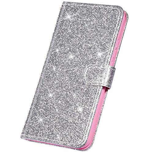 Surakey Coque Huawei Honor View 20 Etui Housse en Cuir PU Portefeuille Livre étui à Rabat,Brillant Paillette Glitter Folio Flip Case Cover Wallet Coque de Protectionn pour Huawei Honor View 20, Argent