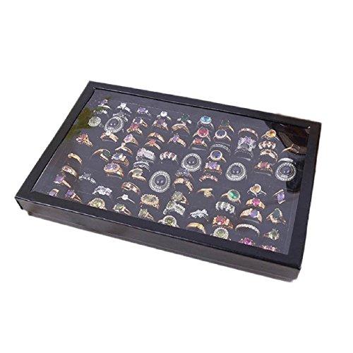 Malloom Joyería del anillo de la exhibición de la bandeja de terciopelo 100 Slot Cash Box joyería Caja de almacenamiento (negro)