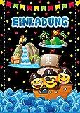 JuNa-Experten 12 Einladungskarten Geburtstag Kinder Piraten für Mädchen Jungen / Bunte Einladungen / Geburtstagseinladungen / Karten Set / Schatzsuche Piratenschiff