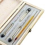 Tefeler Kit di 3 Idrometri per Alcol - Alcoolimetro per Misurazione Grado Alcolico 0-100% Comprensivo di Termometro - Per Grappa, Distillati,Whisky, Brandy, Wodka, Spirito