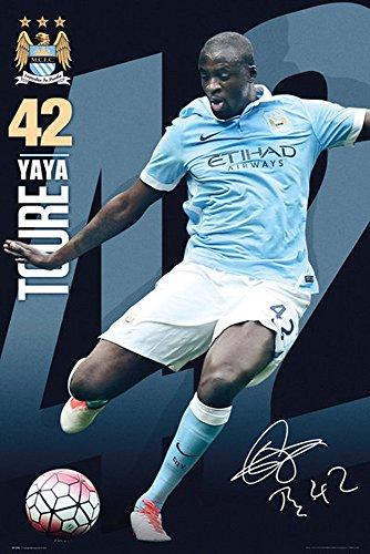 Fußball - Manchester City - Yaya Toure 15/16 Fussball Plakat Poster Druck - Größe 61x91,5 cm + 2 St. Posterleisten Holz 61,5 cm Manchester City Yaya Toure