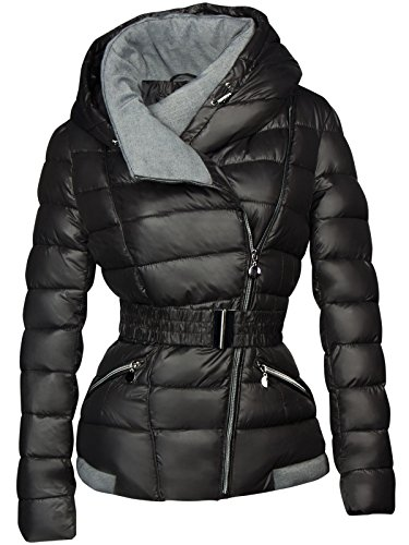 Giacca da sci invernale, corta, da donna, trapuntata effetto piumino con cappuccio  nero m