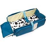 Webeauty ® 3 en 1 - nuevo multi - propósito bolsa de pañales - Portable viajes pañales recién nacido capazo bebe seguro infantil cuna plegable cama Toddler Tote Bag (blue)