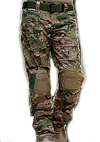 Men Shooting BDU Combat Pants Trousers with Knee Pads Multicam MC for Tactical Military Army Airsoft Paintball (L)