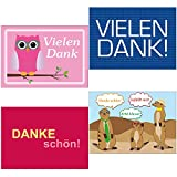 16 Stück Postkarten-Mix DANKE 4 verschiedene Motive Danke-Mix16