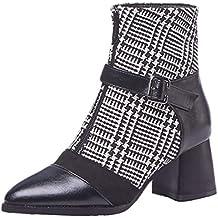 JYshoes Stiefel High Heels Blockabsatz Stiefeletten mit Reißverschluss  Damen Ankle Boots mit Schnallen ef521aa4c4