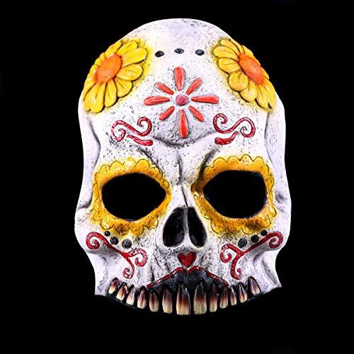 Der Kostüm Toten Halben Tag - Premium Halloween Halb-Maske Latex für Erwachsene | Tag der Toten | Horror-Maske für Halloween-Kostüm | Verschiedene Charaktere aus Horror- & Fantasy-Film