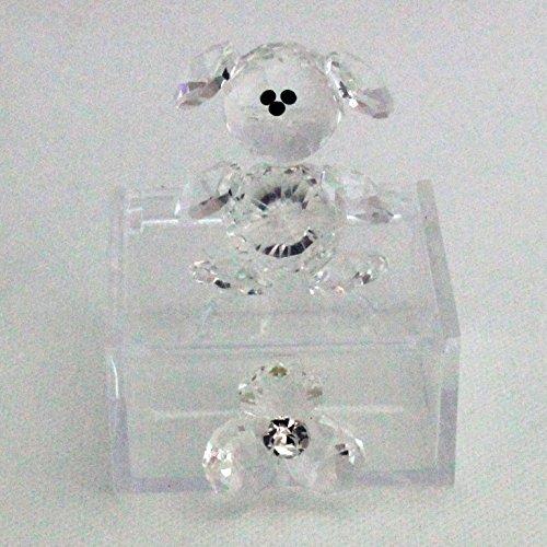 Dlm25762 scatoline in plexiglas con orsetto e fiore in cristallo trasparente (kit 6 pezzi) bomboniera