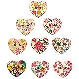 TRIXES 100 PZ Bottoni in legno artigianali a forma di cuore, dipinti a motivo floreale, per il cucito e i lavori manuali.