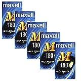 Videokassetten-Box, Maxell M 180VHS Videokassetten, leer, 5 Stück. -