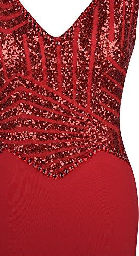 Angel fashions Damen V-Ausschnitt Paillette Perlstickerei Meerjungfrau Mantel lang Abendkleid Rot