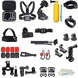 MuSheng Erweiterungs Zubehör Kit für DJI Osmo Action Kamera Für GoPro Hero7 Handheld Halterungen Brustgurt Fahrrad Auto Rucksack Cliphalterung Stativhalter Outdoor Sports Set Kit 44-in-1 (Mehrfarbig)