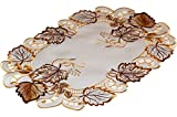 Tischdecken HERBST klassisch Klassische TISCHDECKE 30x45 cm Oval Herbst Weiß BLÄTTER Braun Beige üppig Gestickt Polyester Deckchen (Tischläufer 30x45 cm Oval)