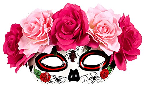 f The Dead Pink/White Eyemask Fancy Dress Accessory (Cinco De Mayo Spiele)