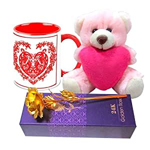 Love Gifts for Her - HomeSoGood Valentine's Day Embroidery White Ceramic Coffee Mug with Golden Rose & Teddy - 325 ml